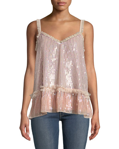 Gloss Sequin Cami Top with Ruffle Trim