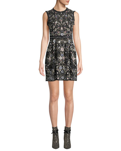Ella Sleeveless Embroidered Floral Cocktail Dress
