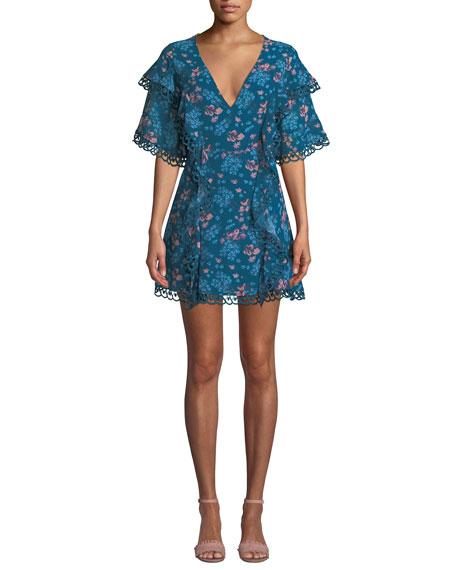 La Maison Talulah All Eyes Floral-Print V-Neck Dress With Trim in Blue Pattern