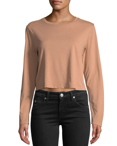 AMO DENIM Babe Cropped Long-Sleeve Cotton Tee in Blush