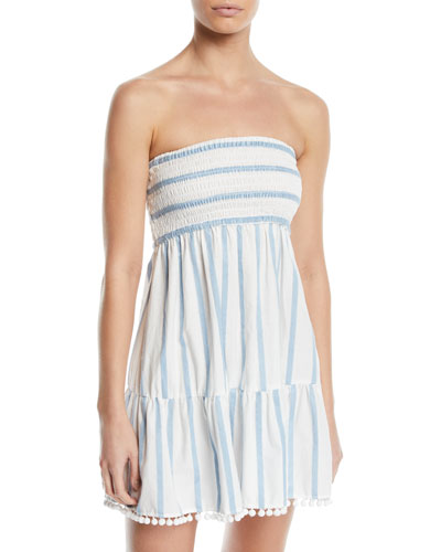 Striped Embroidered Strapless Coverup Dress