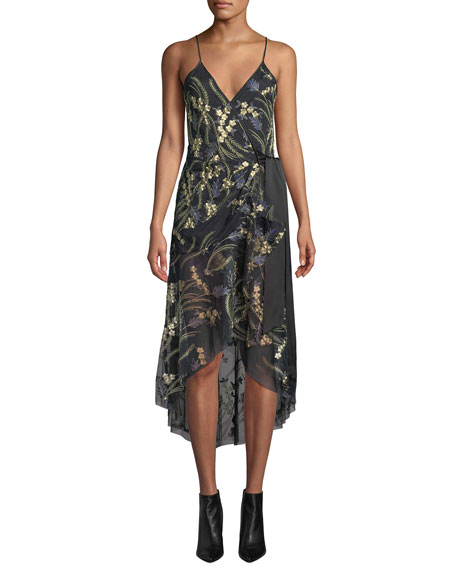Diane von Furstenberg Narrah Embroidered Floral Sleeveless Wrap