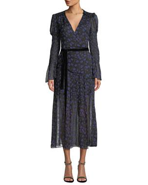 89bdc21c595 Diane von Furstenberg Ani Floral-Print Smocked Silk Wrap Dress