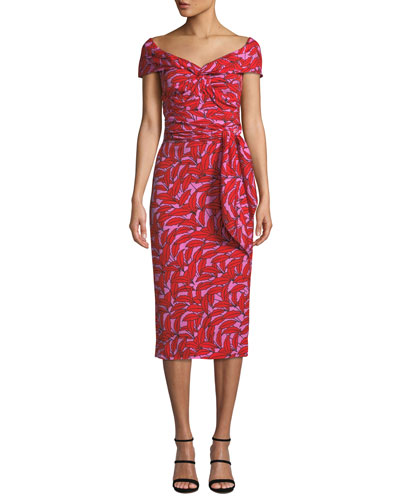 Delphine Printed Off-Shoulder Cocktail Dress