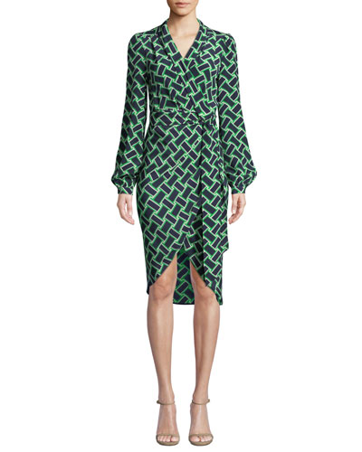 Carla Printed Long-Sleeve Wrap Dress