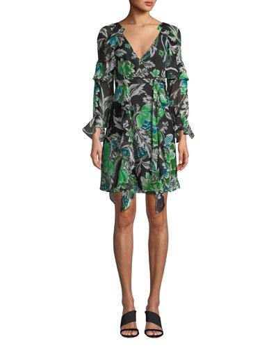 Marianna Floral-Print Silk Ruffle Wrap Dress