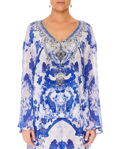 Embellished Silk V-Neck A-Line Blouse