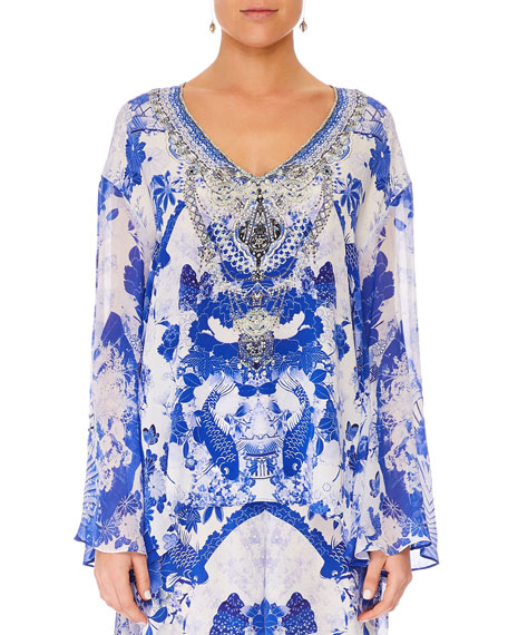 Camilla Embellished Silk V-Neck A-Line Blouse