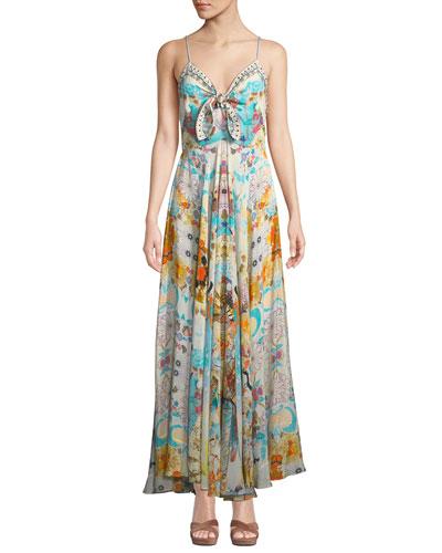 Printed Embellished Tie-Front Long Dress