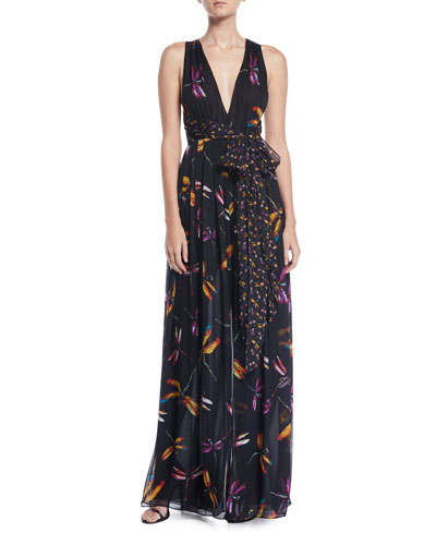 Justine Floral-Print Sleeveless Maxi Dress