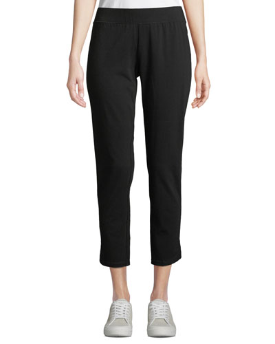 Organic Cotton-Blend Stretch Jersey Cropped Pants w/ Curved Hem