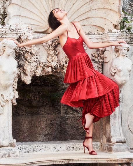 MARCHESA NOTTE Midi dresses PLEATED LAME TIERED COCKTAIL DRESS W/ METALLIC TRIMS