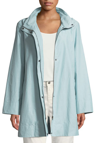 Eileen Fisher Petite Hooded A-Line Long Outerwear Jacket