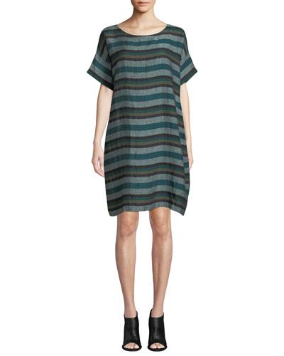 Short-Sleeve Cross-Dyed Linen Dress