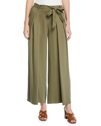 Heavy Tencel® Twill Wide-Leg Pants w/ Tie-Waist, Petite