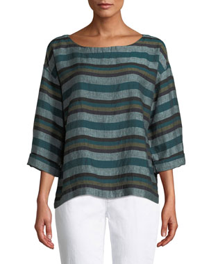 fa2d57ca54a79 Eileen Fisher Petite Cross-Dyed Linen Striped Box Tee