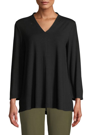 Eileen Fisher V-Neck Bracelet-Sleeve Jersey Top