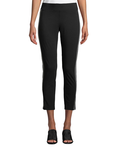 Eileen Fisher Jersey Side-Striped Ankle Pants