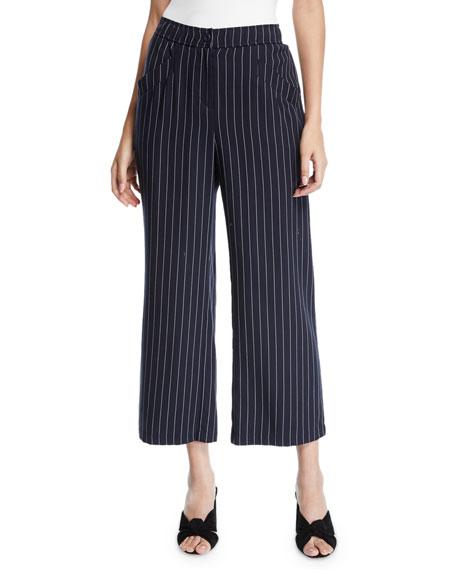 Eileen Fisher Tencel?? Cropped Wide-Leg Striped Pants