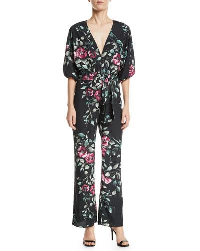 Griffin Floral-Print Crepe Wrap Jumpsuit