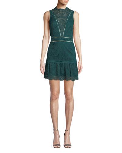 Rosemary Lace Open-Back Mini Dress