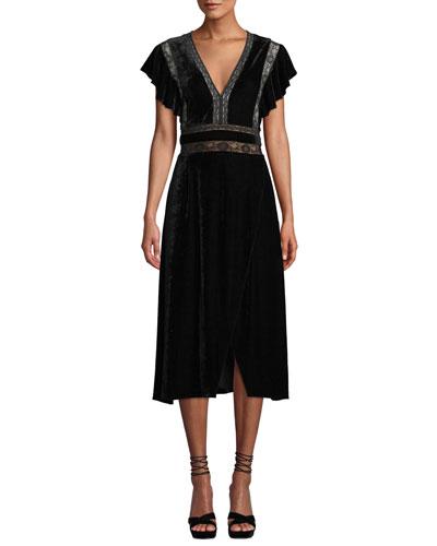 Alexandra Velvet & Lace V-Neck Dress