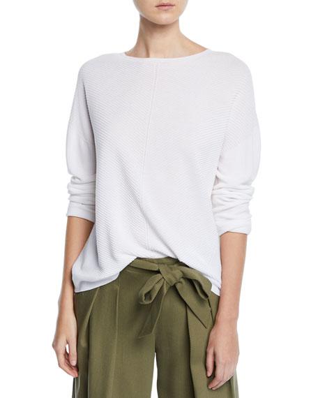 Eileen Fisher Mitered Stitch Long-Sleeve Crewneck Sweater