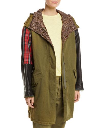The Harper Mixed-Media Hooded Parka Jacket