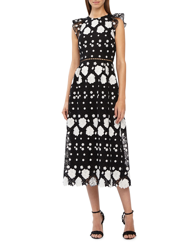 02567773d13 ML Monique Lhuillier Cap-Sleeve Multicolored Lace Midi Dress w  Floral  Embellishments