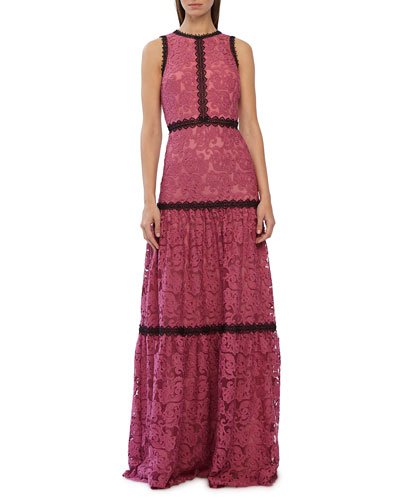Sleeveless High-Neck Scroll Embroidered Gown with Lace Trim