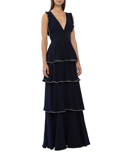Sleeveless V-Neck Layered Crepe A-Line Dress w/ Ruffle Details