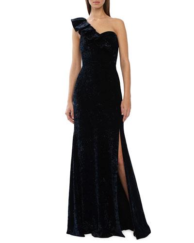 One-Shoulder Velvet Gown w/ Thigh Slit