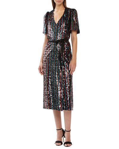 Short-Sleeve Multicolor Sequin Wrap Dress