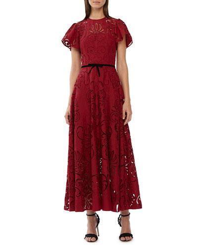 Crewneck Short-Sleeve Midi Dress w/ Cutouts