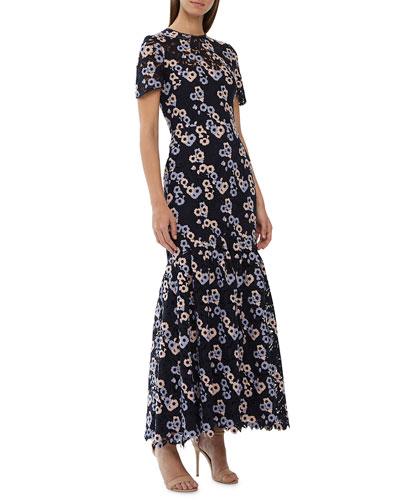 High-Neck Short-Sleeve Multicolored Floral Lace Dress w/ Godet Hem