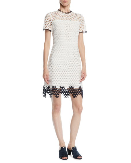 Shoshanna Carter Geo Lace Dress w/ Contrast Trim
