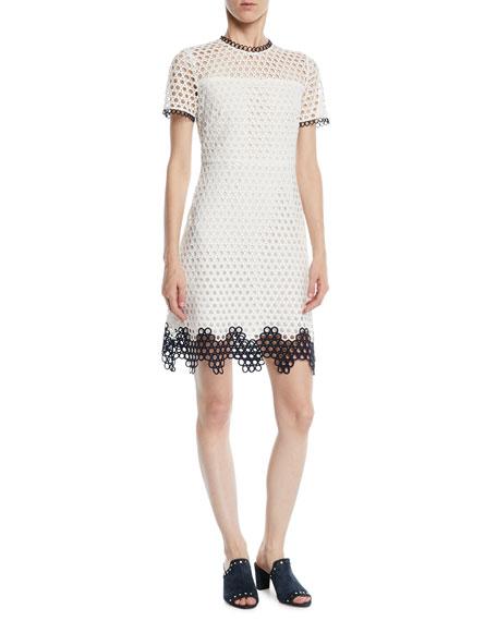 Shoshanna Carter Geo Lace Dress w/ Contrast Trim