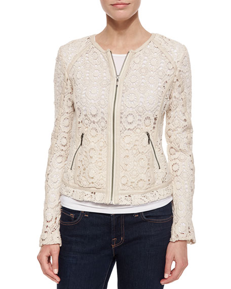 Neiman Marcus Crochet Jacket with Lambskin Trim, Ecru