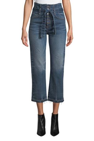 "Veronica Beard Marlene 12"" Rise Corset Straight-Leg Cropped Jeans"
