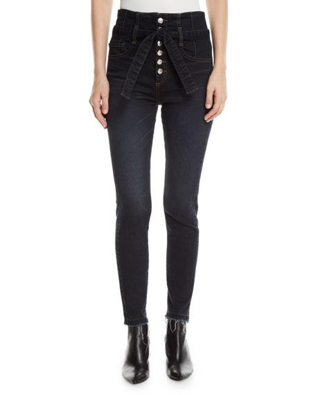 "Keith 12"" Rise Corset Raw-Hem Skinny Jeans in Dark Slate"