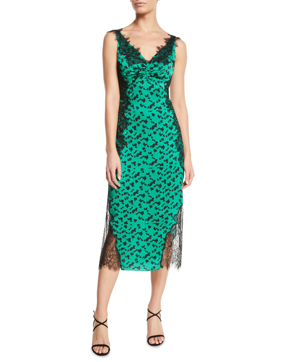 d7859ad81227 Tanya Taylor Irina Printed Silk Midi Dress with Lace Trim