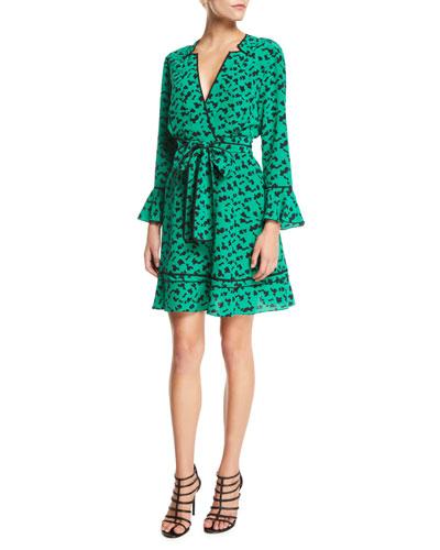 Nomi Printed Long-Sleeve Silk Short Dress