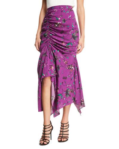 Raquel Floral-Print Ruched Handkerchief Midi Skirt