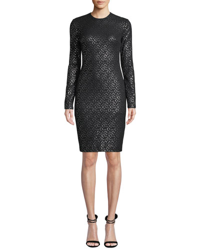 Desoto Long-Sleeve Dotted Dress
