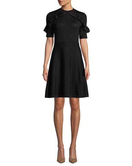 kate spade new york studded ruffle sweater dress
