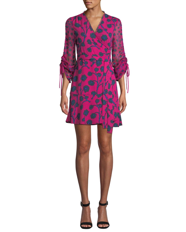 c764f409 Diane von Furstenberg Tamra Floral-Print Long-Sleeve Wrap Dress ...