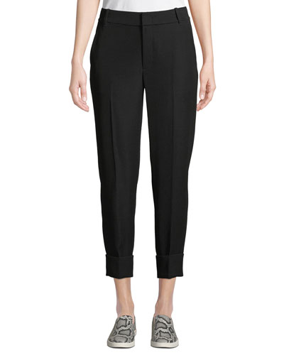 Cuffed Straight-Leg Crepe Trousers with Coin Pocket