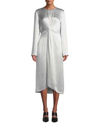 Twist-Front Long-Sleeve Silk Midi Dress