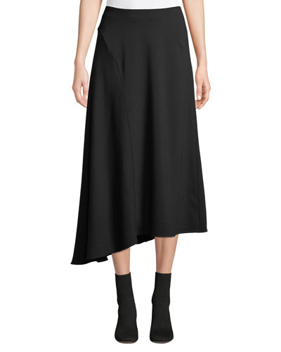 Asymmetric Seamed Midi Skirt