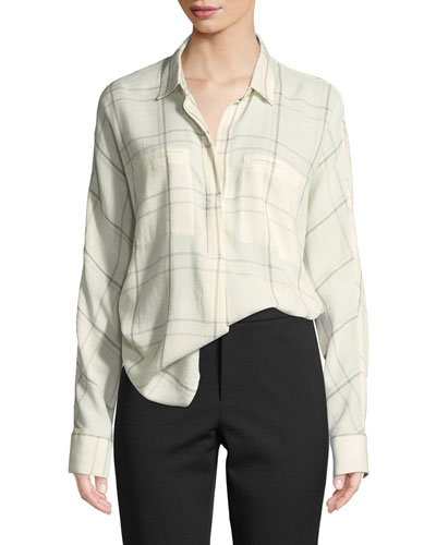 Plaid Long-Sleeve Popover Blouse